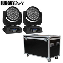 Free Shipping 2pcs/Lot Flightcase 2017 New 36*10W Zoom Moving Beam Lights RGBW Led Moving Head Wash Beam Effect Lights