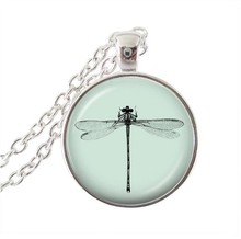 Bijoux femme dragonfly necklace bugs insect pendant glass cabochon animal statement chain necklaces silver jewellery wholesale