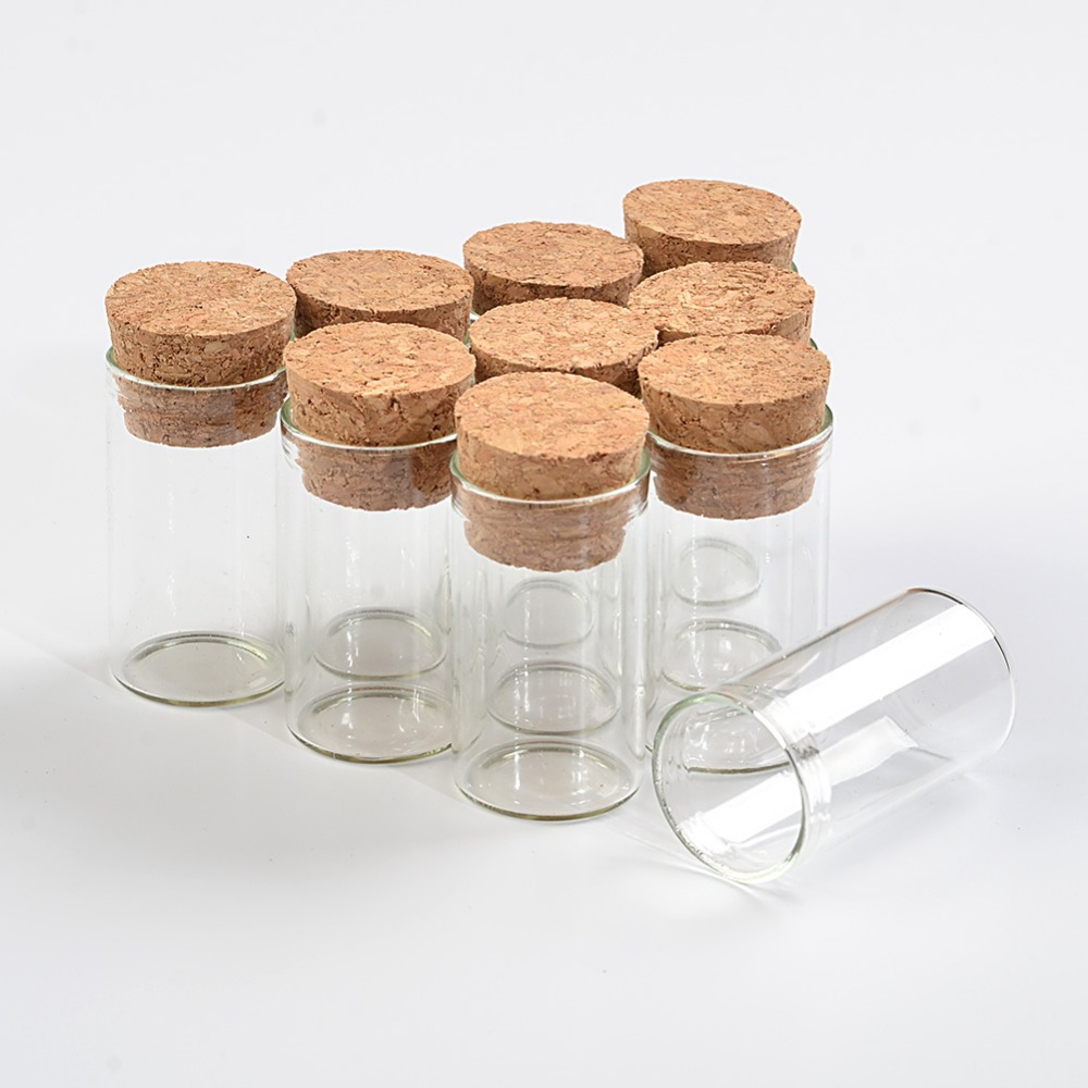 22*40mm 6ml Empty Glass Transparent Clear Bottles With Cork Stopper Glass Vials Jars Packaging Bottles Test Tube 100pcs/lot(China)