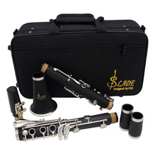 17-Key Clarinet Reed-Case Woodwind-Instrument ABS Bb Flat Soprano with Cleaning-Cloth-Gloves