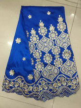 2016 sapphire George cloth/Indian George packing/sequins African raw silk lace fabric Retail - free shipping 82/90/1qz