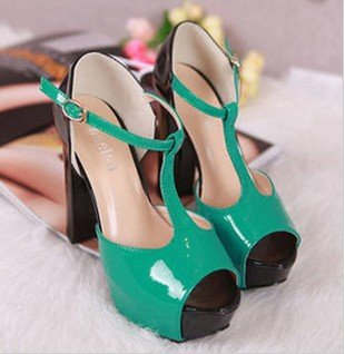 Free shipping,candy color ,T-shaped mould shoes woman thick heel high heels sandals,ladies platform pumps footwear green on sale<br><br>Aliexpress