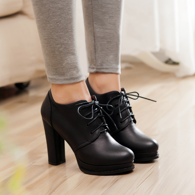 2017 new spring autumn boots women pumps shoes high heels ankle boots platform lace up black women leather boots plus size<br><br>Aliexpress