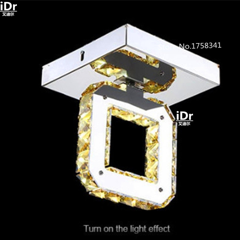 stainless steel rectangular lighting  living room Crystal Light bedroom led ceiling lamp  LED energy-saving lamps <br><br>Aliexpress
