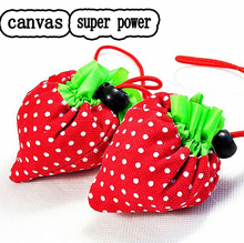 Thicken Canvas Fiber Handbag Foldable Strawberry Shopping Bag Reusable Supermarket Storage Bags Colorful Super Power Top Quality