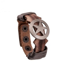 COOL Genuine Leather Wide Cuff Wrap Male Bracelets Hollow Captain America Star Shield Flower Stud Bracelet Rivets Bangle For Men
