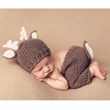 Brown deer two sets baby clothes velvet knitting photography props Newborn Crochet Outfit Photography Prop Newborn Prop(China)