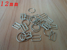 12mm  Silver Metal Bra strap Adjustment Buckle Rings Hooks Silders Sewing Lingerie Hardware Accessories Dropshipping