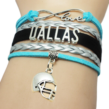 Infinity Love Dallas Sports Helmet Charm Bracelets Cuff Customize Men Basketball West Team Sports Bangles for Fans