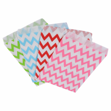 25Pcs Food Grease Proof Paper Bag Wavy Stripes Kids Candy/Snack Buffet Favor Gift Wedding Birthday Party Supplies 4 Colors