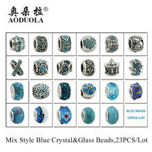 AODUOLA High Quality 23pcs Mix Style Antique silver Metal Beads Blue Crystal Charms fit Pandora charm bracelet DIY Jewelry