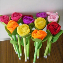 12pcs/lot New Novelty Plush Roses flower Ball Pen Stationery Ballpoint Pen Office school supplies fashion gifts(China)