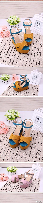 2018 Women Fish Mouth Platform High Heels Wedge Sandals Buckle Slope Sandals Women's High Heel Shoes 5 Online shopping Bangladesh