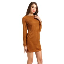 T-Inside 2016 New Spring Women Dress Warm Cashmere Long Sleeve Solid Vintage Daily Wear Winter Sheath Dress WH003(China)