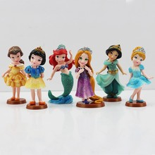6pcs/set 9cm Princess Dolls Cinderella Snow White Rapunzel Jasmine Think bell Bella Ariel PVC Figure Model Toys Gift For Girl