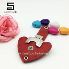 Full capacity flash drive 8gb leather heart pen drive 16gb USB flash drive 32gb memory stick 4gb flash card 64gb memory flash