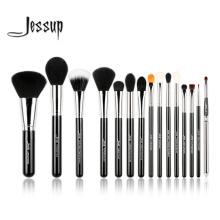 Jessup Pro 15pcs Makeup Brushes Set Black/Silver Cosmetic Make up Powder Foundation Eyeshadow Eyeliner Lip Brush Tool beauty