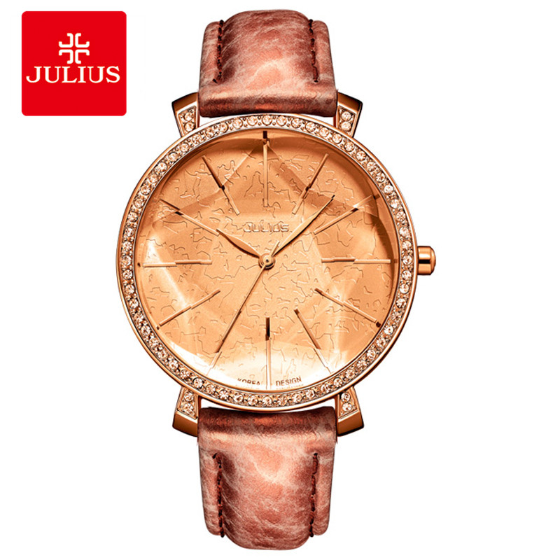 Julius Fashion Watch Women Big Dial Watch Japan Quartz Whatch Women Beige Ladies Designer Watch Brand Logo Reloj mujer JA-517<br>