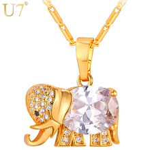 U7 Cute Elephant Crystal Necklace Western Design Gold Color AAA Cubic Zirconia Animal Pendants & Necklaces Jewelry For Women P56(China)