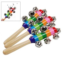Colorful Wooden Rainbow Handle Jingle Bell Rattle Toys Kids Baby Infant Intellegence Development -17 FJ88 - Pleasure Childhood 88 Store store