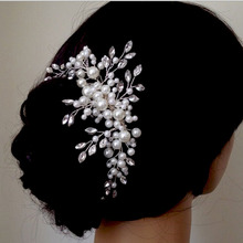 Metting Joura Wedding Romantic Cream Pearl Braided With Beads Hair Comb Bride Party Hair Jewelry Bridal Vintage Hair Accessories