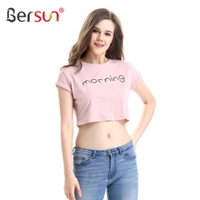 Buy Bersun Summer Fashion Womens Crop Tops 2017 New O-Neck Short Sleeve Letter Print T-Shirt Korean Style Harajuku T Shirt for $7.99 in AliExpress store