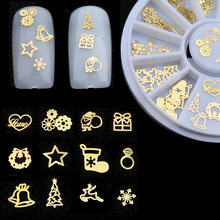Gold Metal Nail Art Sticker Decoration Wheel Christmas Mix Designs Tiny Slice DIY Manicure Nail Accessories