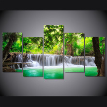 5 Pieces/set Green Tropical Waterfall Painting Canvas Print Pictures Wall Art For Living Room Home Decorative Artworks Unframed