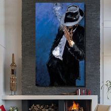 Top Skills Artist Hand painted Abstract Knife Painting Smoking Man Oil Painting Pictures On Canvas Home Decor no Framed Picture(China)