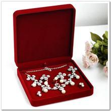 High Quality Red Velvet Jewelry Set Box Necklace Packaging Box Pendant Bracelet Ring Earring Boxes Jewellry Storage Cases