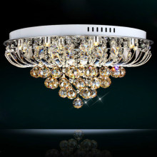 LED Flush Mount Hanging Golden Teak Crystal Balls Chandelier Ceil Pendent Light 90-260V