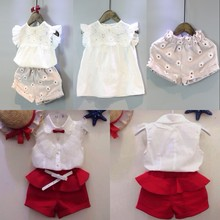2PCS Kids Children Girls Clothes Lace Stitching Tops Shirt + Daisy Print Short Outfit Summer Suits Sleeveless Shirts Red 2T 7T(China)