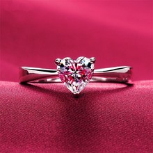 Test Moissanite Solitaire Love Shape Engagement Ring Lovely Diamond Heart Cut 7*7mm Solid 18K White Gold Ring for Women AU750