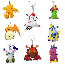 Digimon Adventure Agumon Patamon Tailmon Gomamon Piyomon Gabumon Tentomon Palmon PVC Keychain Digital Monster Toys Pendant Gifts