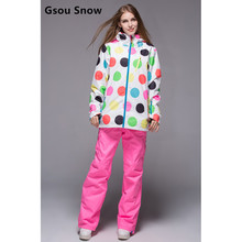 Gsou snow womens ski suit female white with colourful polka dots jacket and pink ski pants suit ladies snowboarding suit skiwear(China)