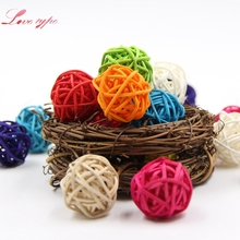 10PCS 5CM Colorful Rattan Ball DIY Ornaments Sepak Takraw Home Ornament Christmas/Birthday Wedding Party Kids Gifts Decorations(China)