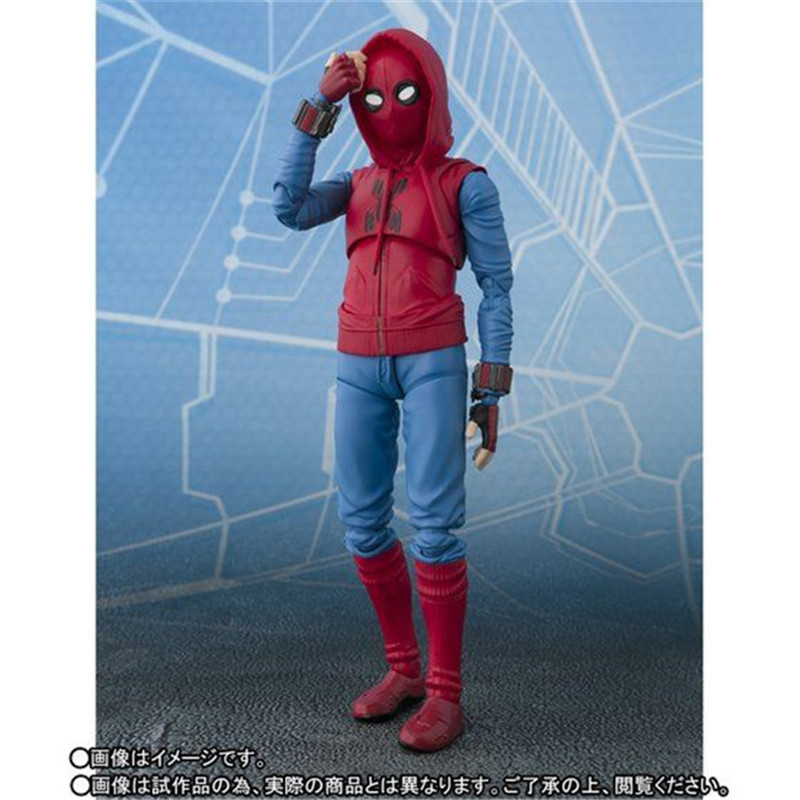 Spider Man Home Made Suit Suit Ver. PVC Action Figure Model Toys Movie Super Hero Spider-Man Figuras Dolls Cool Boy Cosplay Gift 14cm  (1)