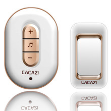 CACAZI 1 transmitter+1 receiver, AC 110-220V waterproof 300M remote wireless doorbell,48 melodies 6 volume door chime