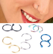 2pcs 8mm Free shipping Medical Nostril Hoop Nose Ring body piercing jewelry Fashion stainless steel COLORFUL nose stud