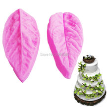 M167 Hot Selling FDA 2 Pieces/lot Leaf Folder Shaped Fondant Mold Clamping 3D Silicone Mold Cake Decoration Tools