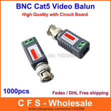 Video Transceivers Mini CCTV Passive Video Balun BNC Cat5 UTP Twisted 1000pcs Fedex / DHL Free Shipping wholesale(China)