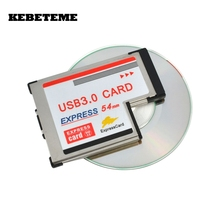 KEBETEME USB 3.0 PCI Express Card Adapter 5Gbps Dual 2 Ports HUB PCI 54mm Slot ExpressCard PCMCIA Converter For Laptop Notebook(China)