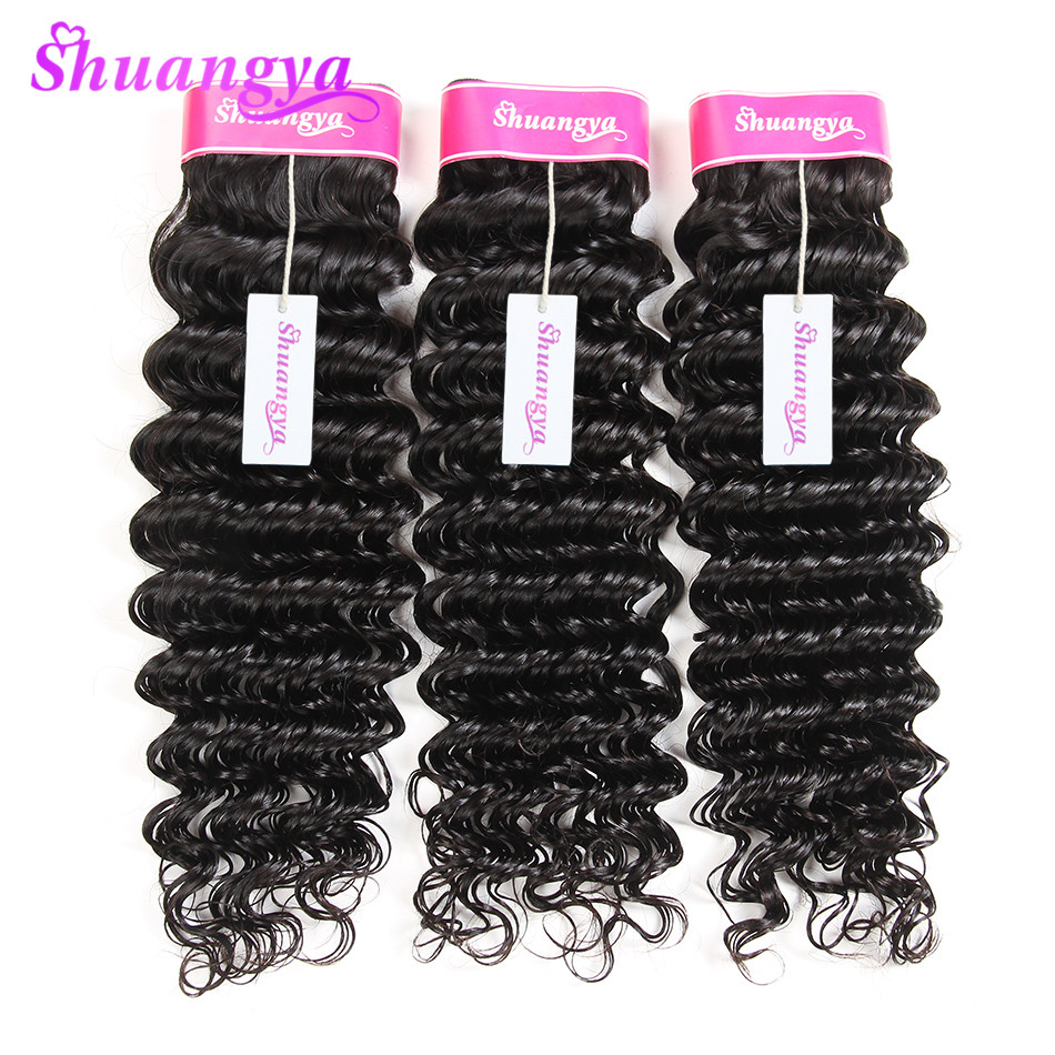 Shuangya 3 Bundles Indian Deep Wave Human Hair 8 28inch Hair Weaving