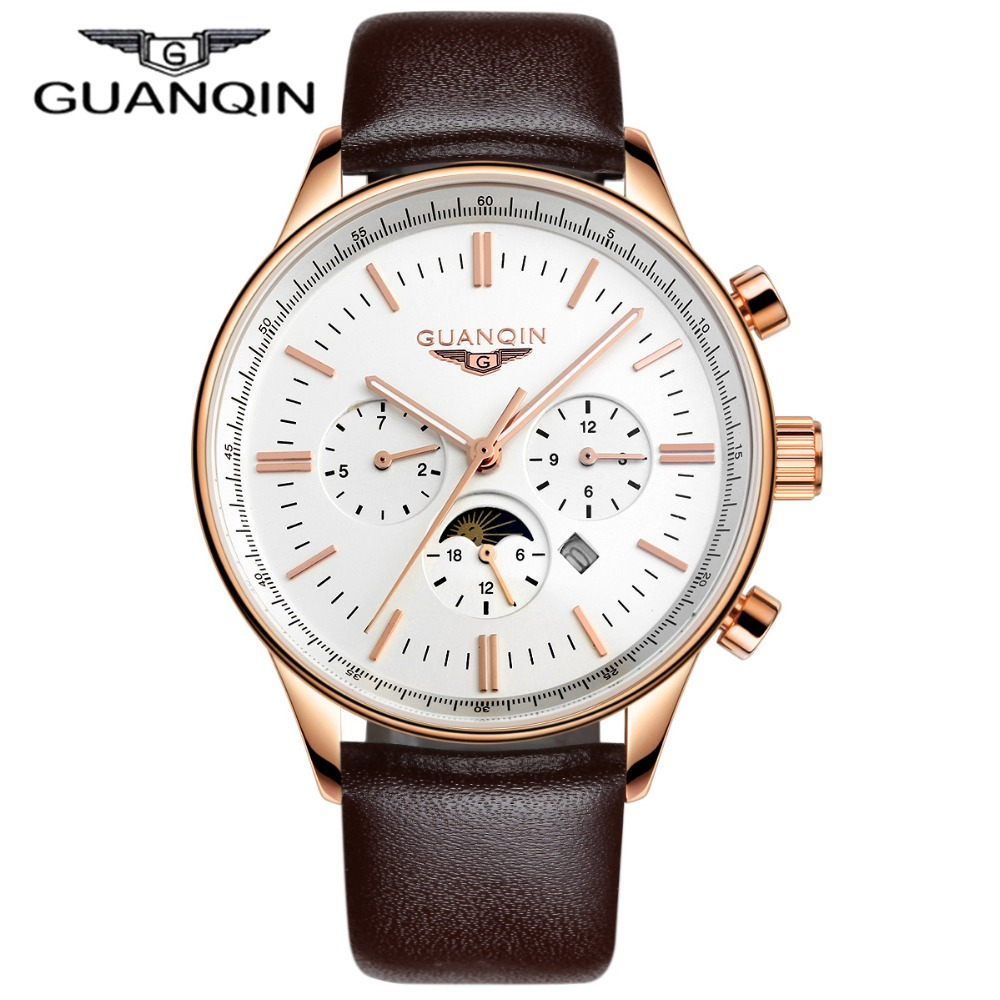Men Watches Top Brand Luxury GUANQIN Quartz-Watch Leather Watchbands Sport Waterproof Casual Relogio Masculino Montre Homme<br>