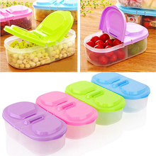 Plastic Fruit Storage Box 2 Lattices Sealed Crisper Grains Tank Kitchen Sorting Food Container Box HG99