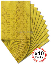 10 packs/Lot 20 pcs total Top class SEGO headtie African Head Tie gele Wrap 2551 yellow gold