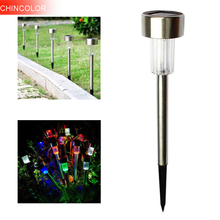 CHINCOLOR 2pcs Solar Powered LED Garden Light 1W Stainless Steel Outdoor Lawn Landscape Garden Path Night decoratiove Lights EA(China)