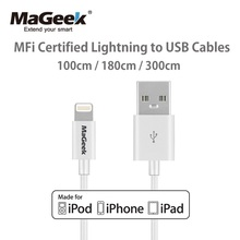 MaGeek Original 1m 1.8m 3m Mobile Phone Cables MFi Lightning to USB Cable for iPhone 7 6 6s 5 iPad 4 mini Air iOS 11 10 9(China)