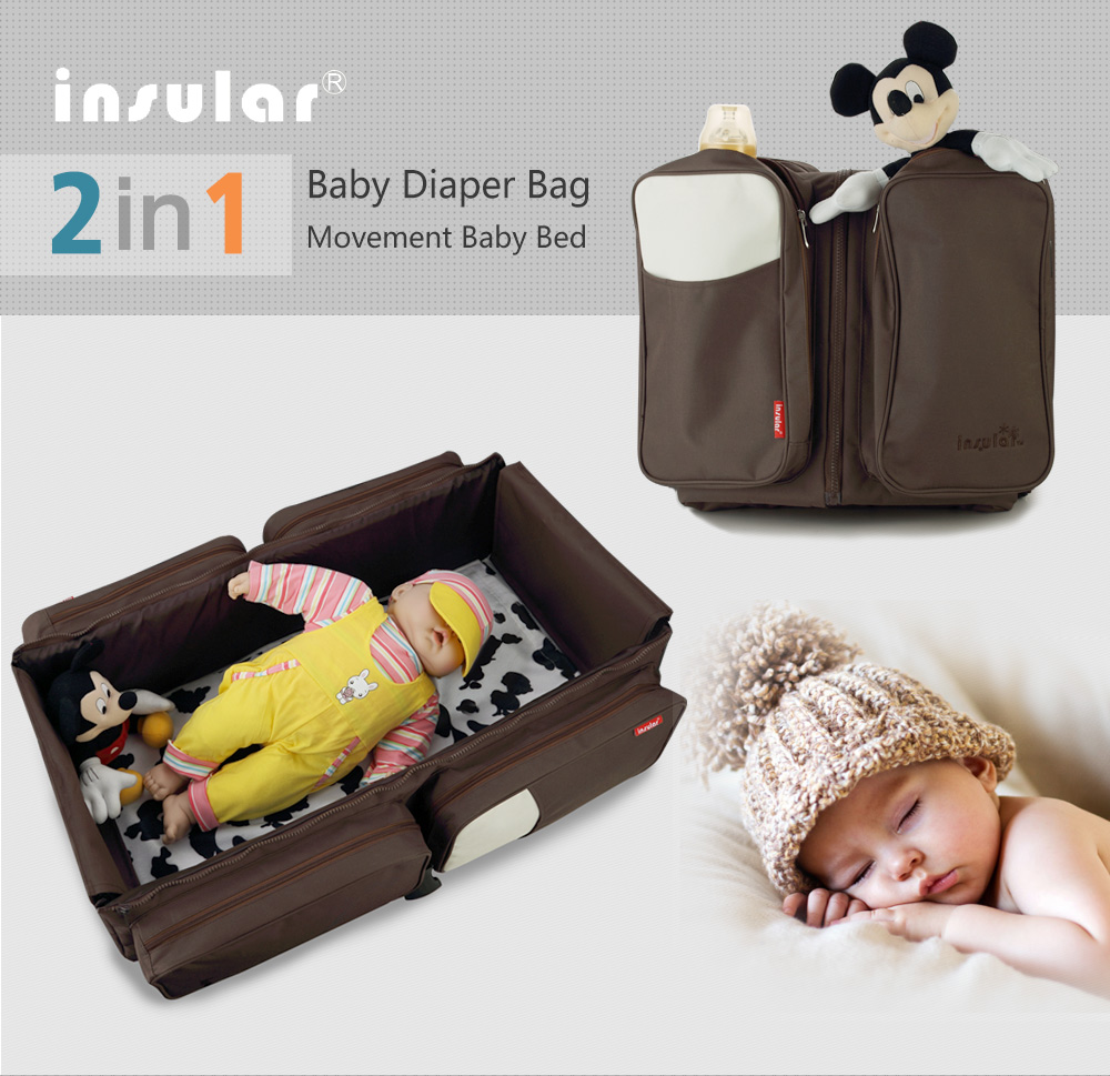 Portable Baby Bed Crib Outdoor Folding Bed Travelling Baby Diaper Bag Infant Safety Bag Cradles Bed Baby Crib Safety Mommy Bag<br>