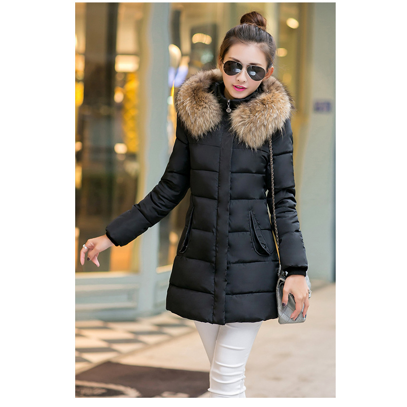 2016 Fashion New Winter cotton-padded jacket long down coat female cotton solid Long fur cap Одежда и ак�е��уары<br><br><br>Aliexpress